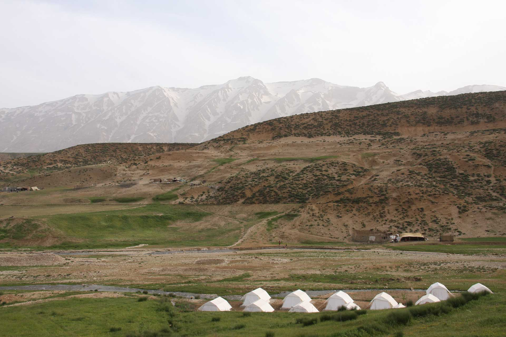 white camps of nomads in nature